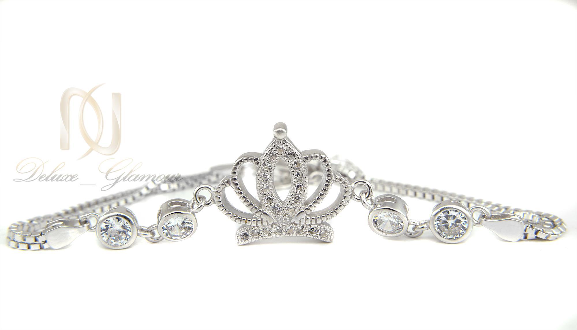 دستبند نقره دخترانه طرح تاج ds-n333 از نمای سفید