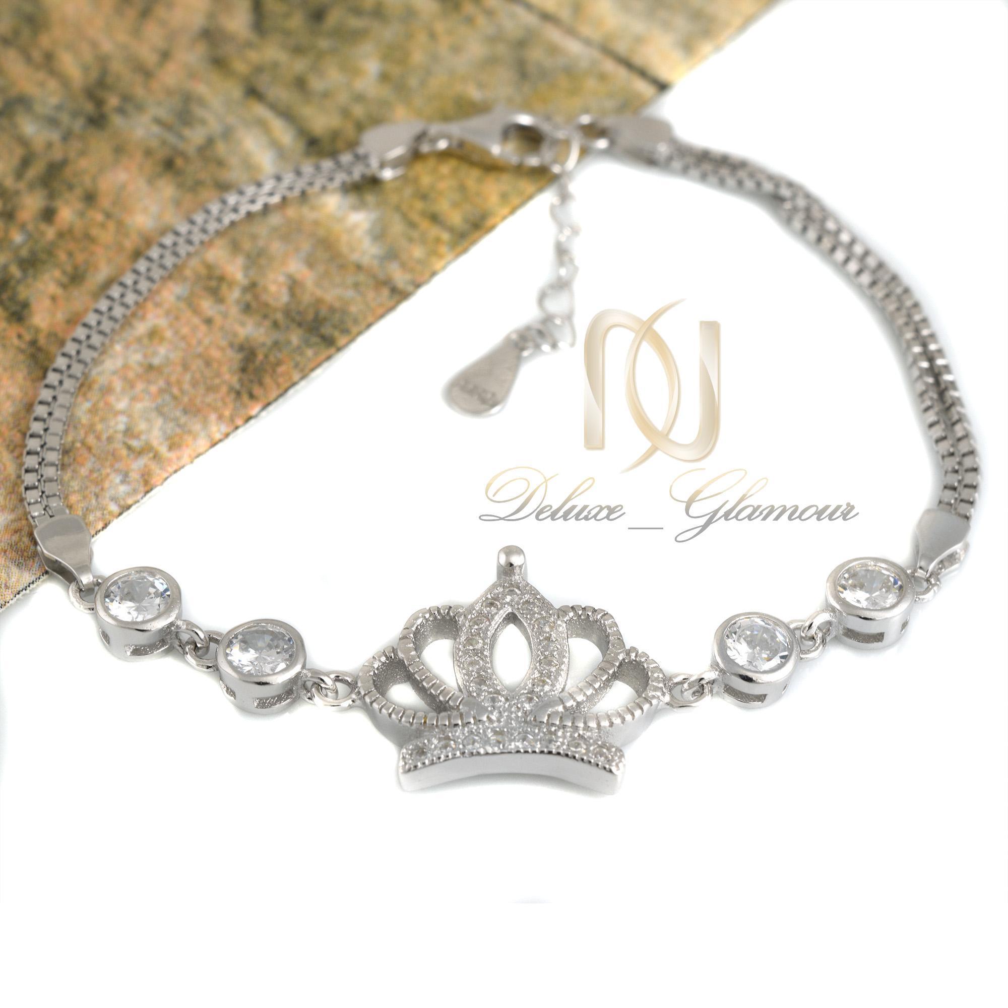 دستبند نقره دخترانه طرح تاج ds-n333