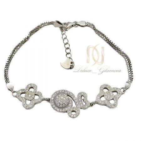دستبند نقره دخترانه ظریف نگین دار ds-n331 از نمای سفید