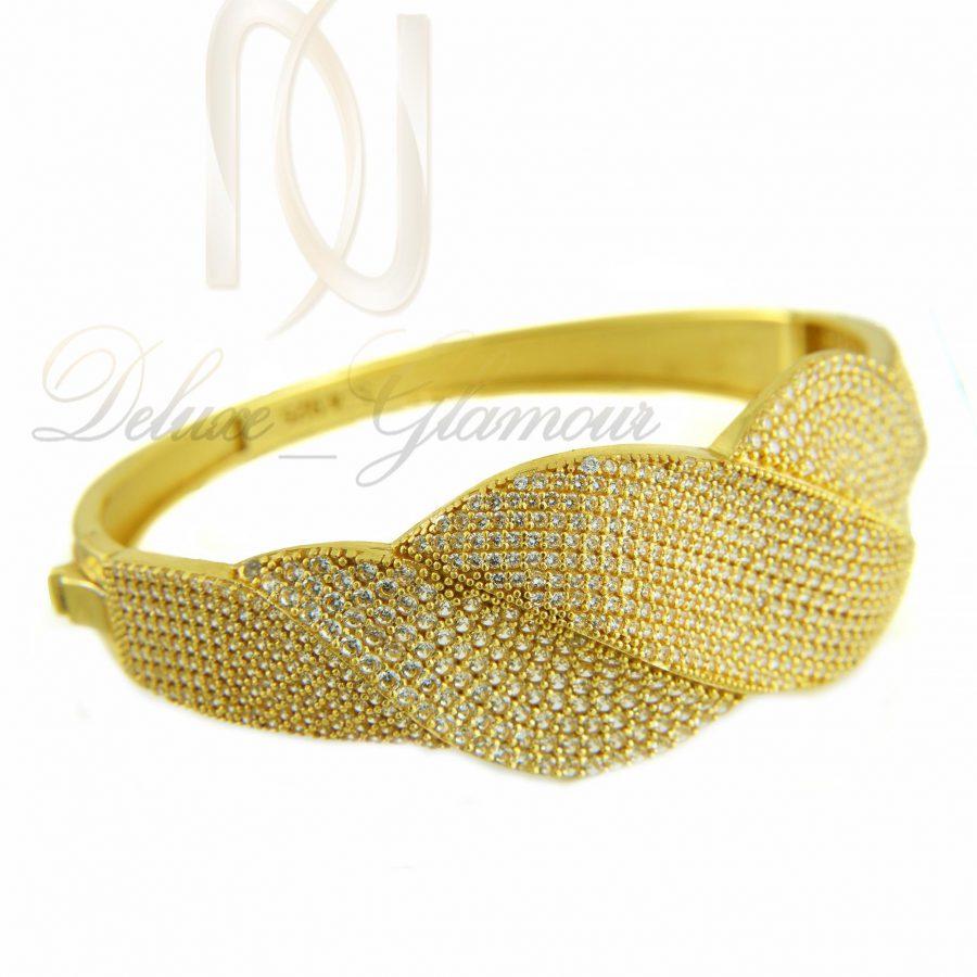 دستبند نقره زنانه طلایی نگین دار ds-n314
