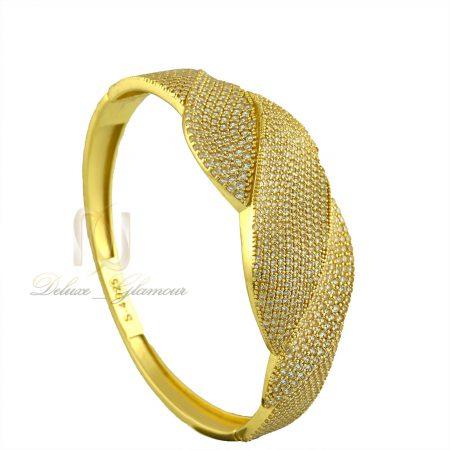 دستبند نقره زنانه طلایی نگین دار ds-n314 از نمای روبرو