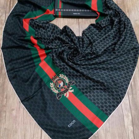 روسری ابریشم کجراه کنار دست دوز sr-n184 از نمای روبرو