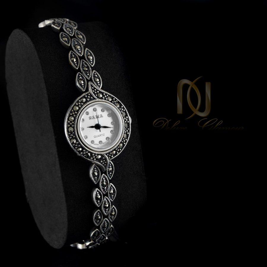 ساعت نقره زنانه طرح سیاه قلم WH-N119 از نمای مشکی