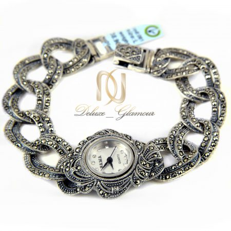 ساعت نقره زنانه طرح سیاه قلم wh-n117 از نمای سفید