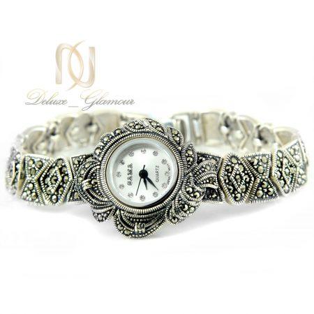ساعت نقره زنانه طرح سیاه قلم wh-n122 از نمای سفید