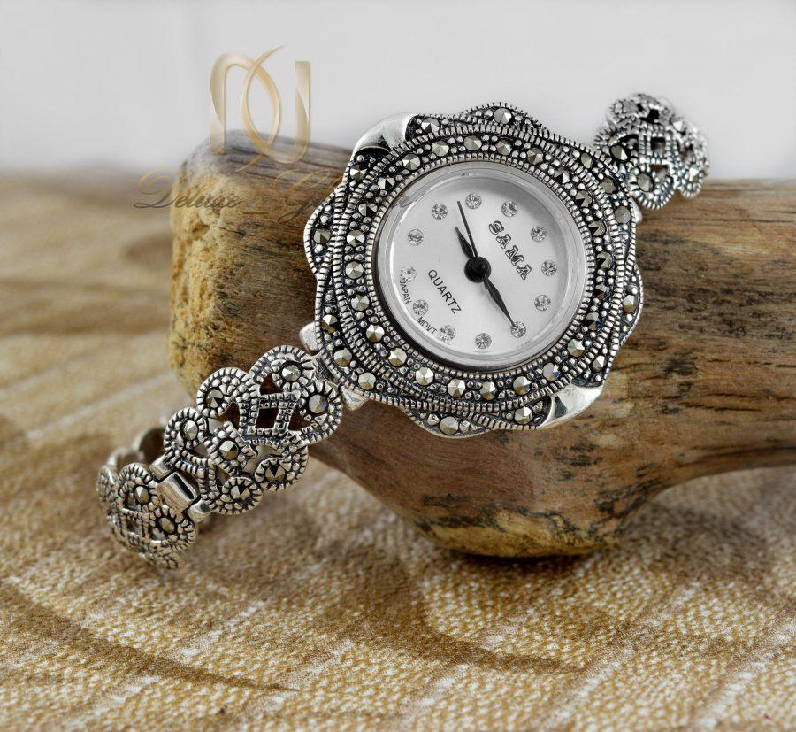 ساعت نقره زنانه ظریف سیاه قلم wh-n121 از نمای کنار