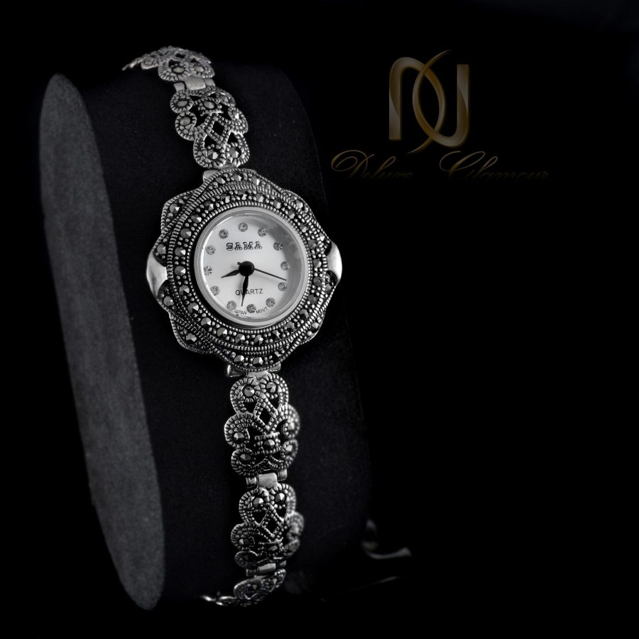 ساعت نقره زنانه ظریف سیاه قلم wh-n121 از نمای مشکی