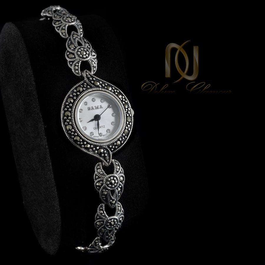 ساعت نقره زنانه ظریف سیاه قلم wh-n124 از نمای مشکی
