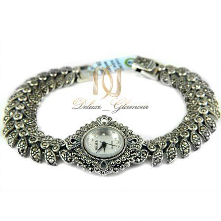 ساعت نقره زنانه نگین دار طرح برگ wh-n123 از نمای سفید