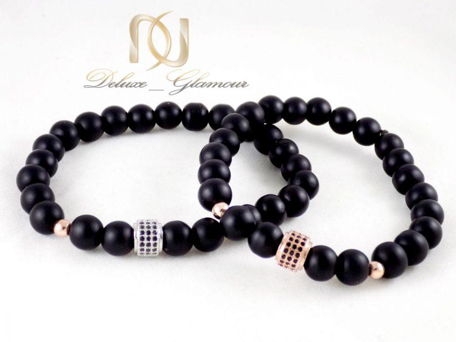 ست دستبند عاشقانه سنگ اونیکس ds-n311 از نمای سفید