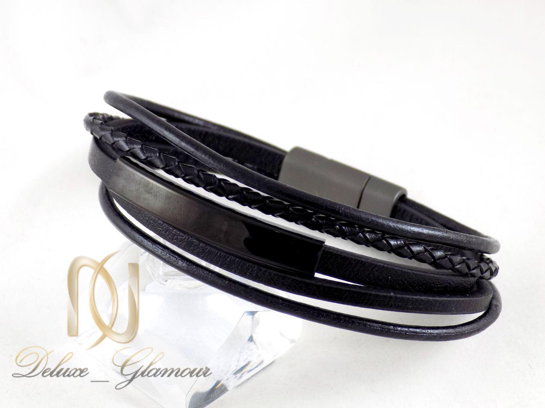ست دستبند و انگشتر مردانه مشکی ns-n244 از نمای دستبند