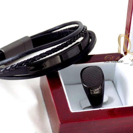 ست دستبند و انگشتر مردانه مشکی ns-n244 از نمای روبرو