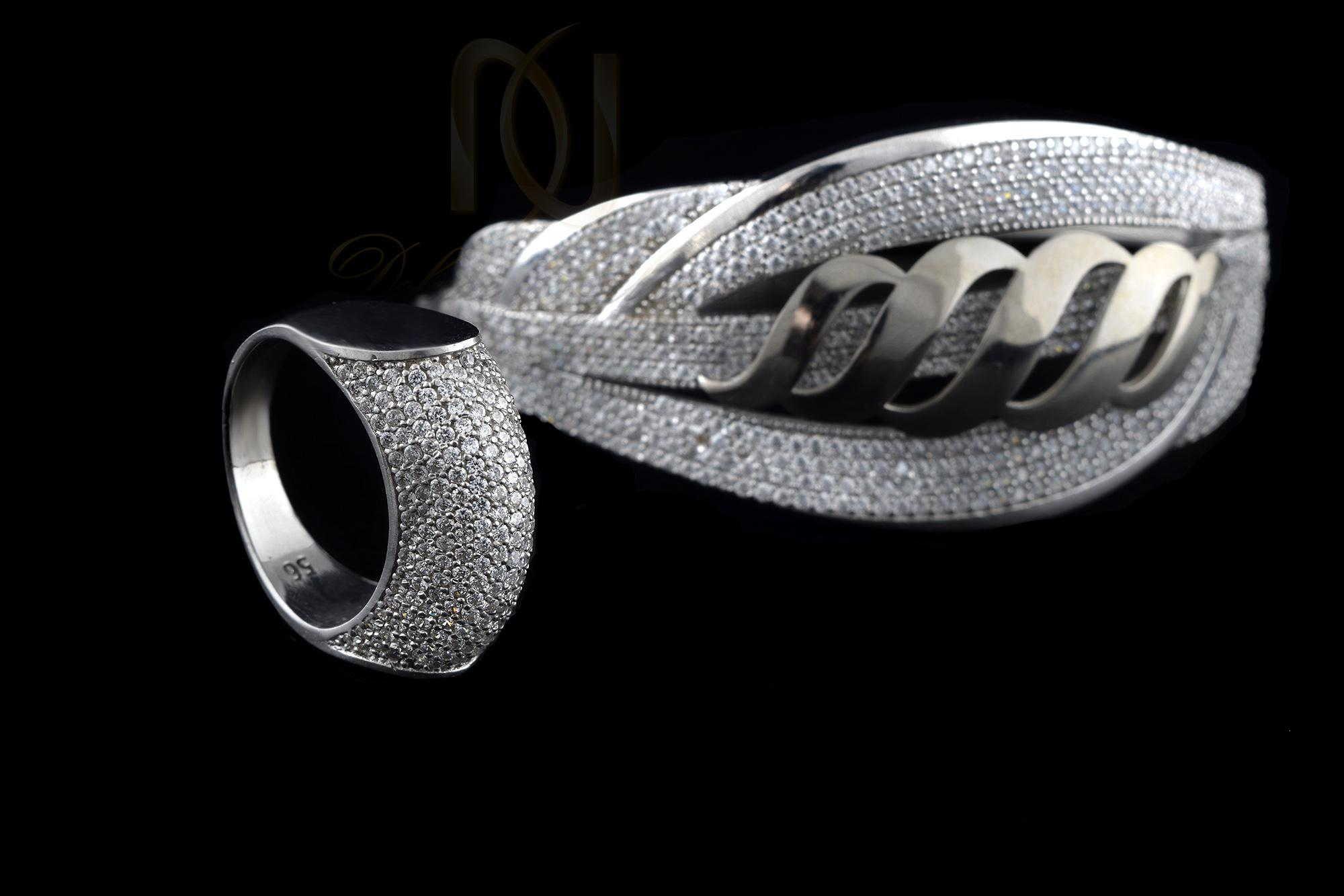 ست دستبند و انگشتر نقره زنانه ns-n240 از نمای مشکی