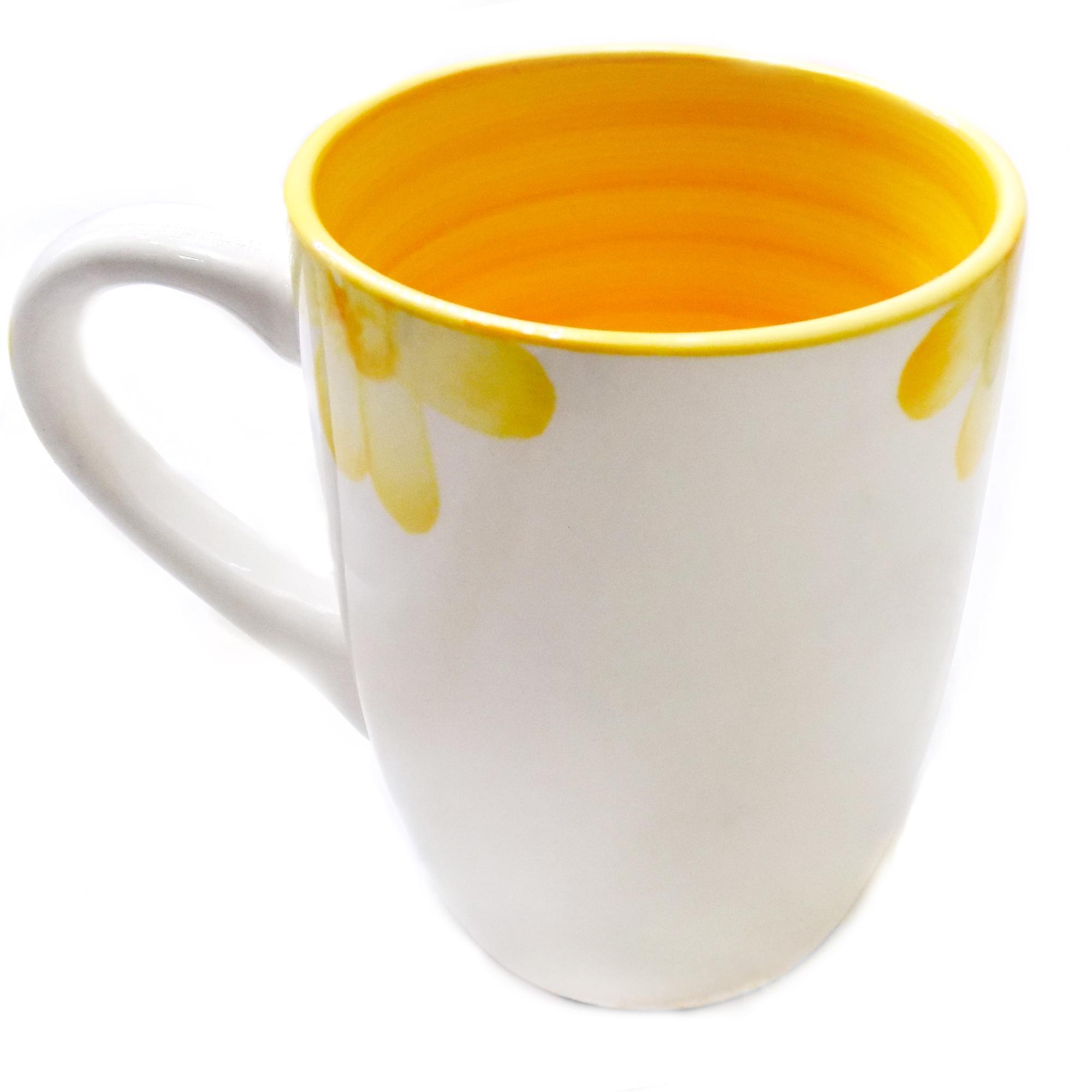 ليوان سراميكي طرح گل ka-n113 از نماي ليوان زرد