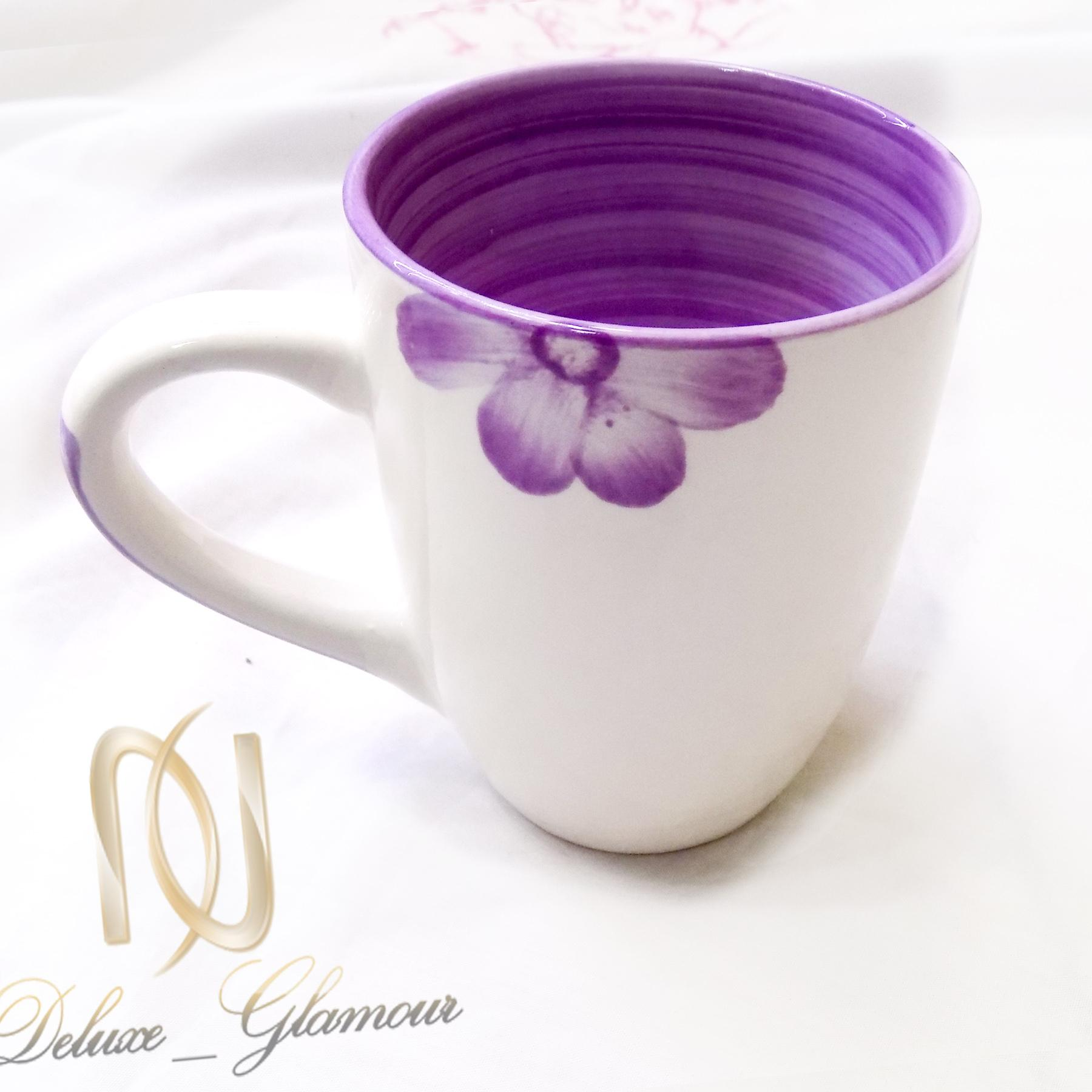 ليوان سراميكي طرح گل ka-n113 از نماي ليوان بنفش