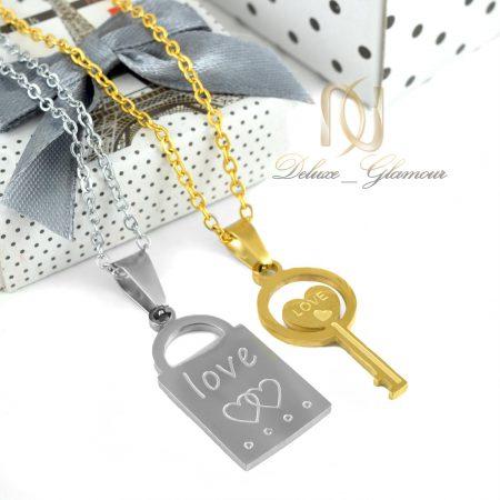 گردنبند ست استیل طرح قفل و کلید mf-n112