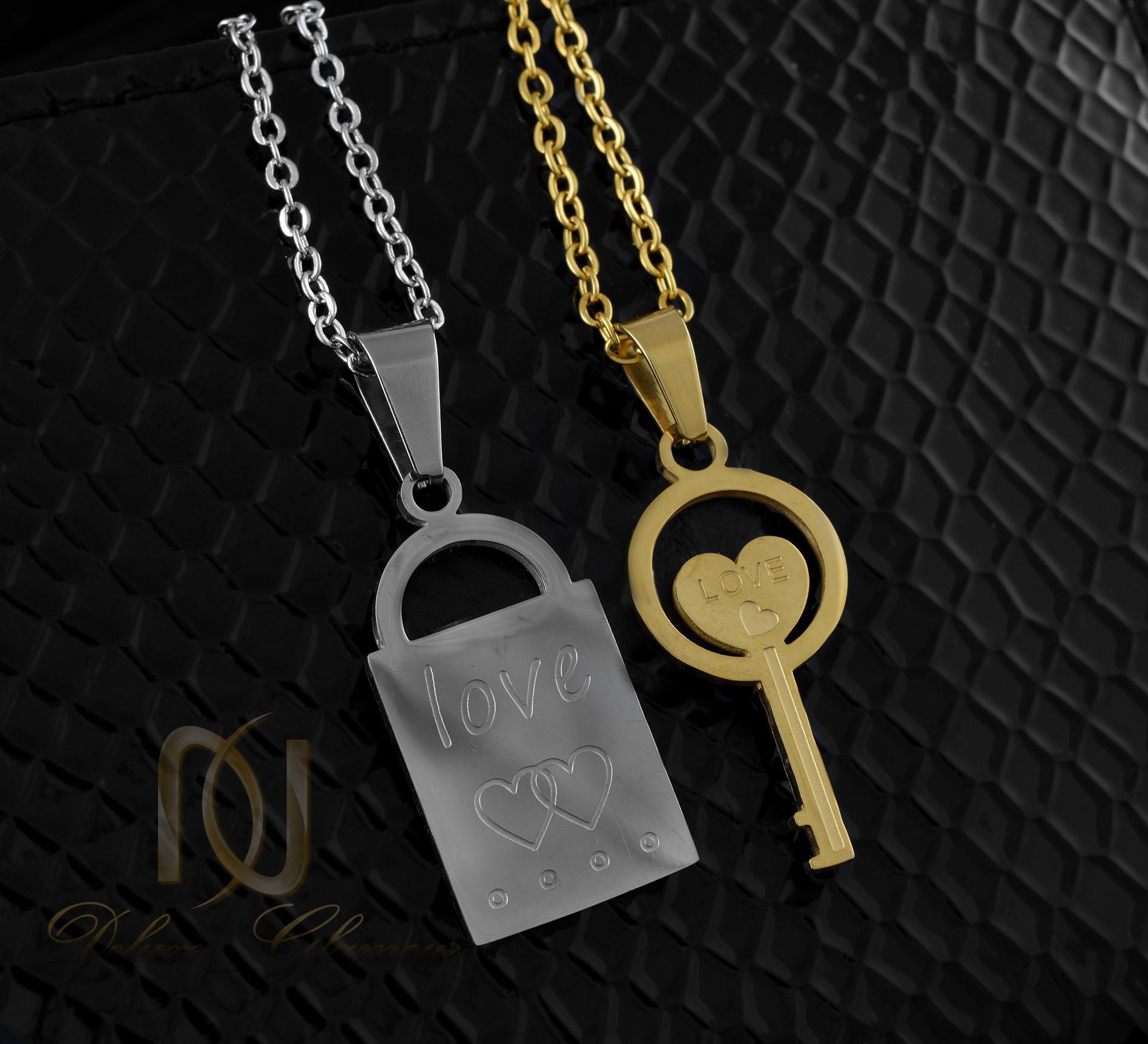 گردنبند ست استیل طرح قفل و کلید mf-n112 از نمای مشکی