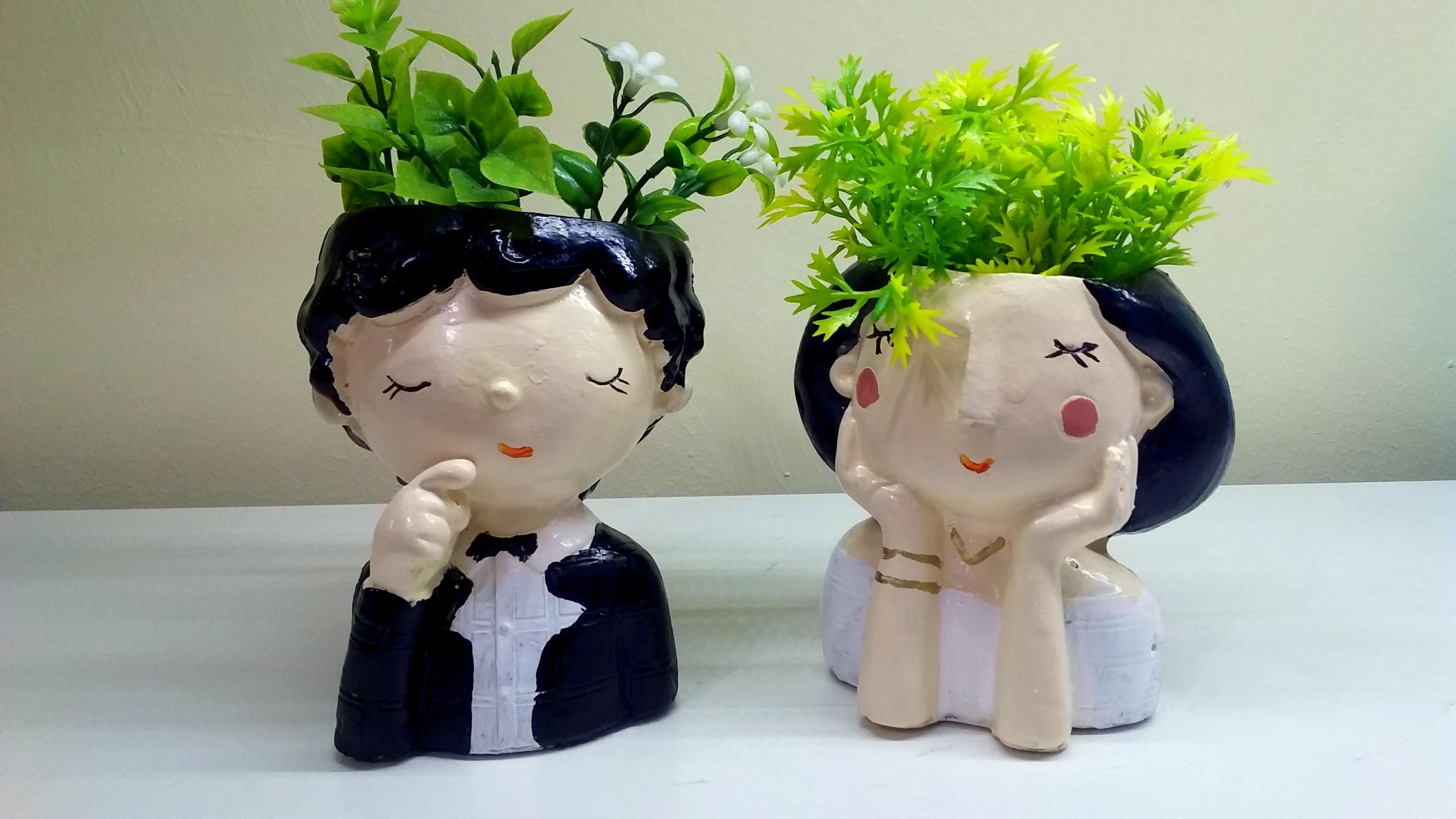 گلدان فانتزی عروس و داماد از نمای روبرو