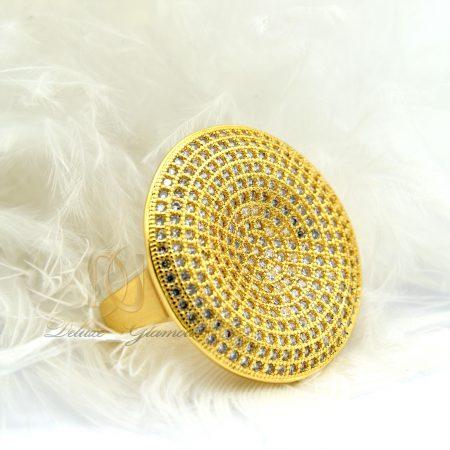 انگشتر زنانه استیل پهن طرح طلا rg-n280 از نمای سفید