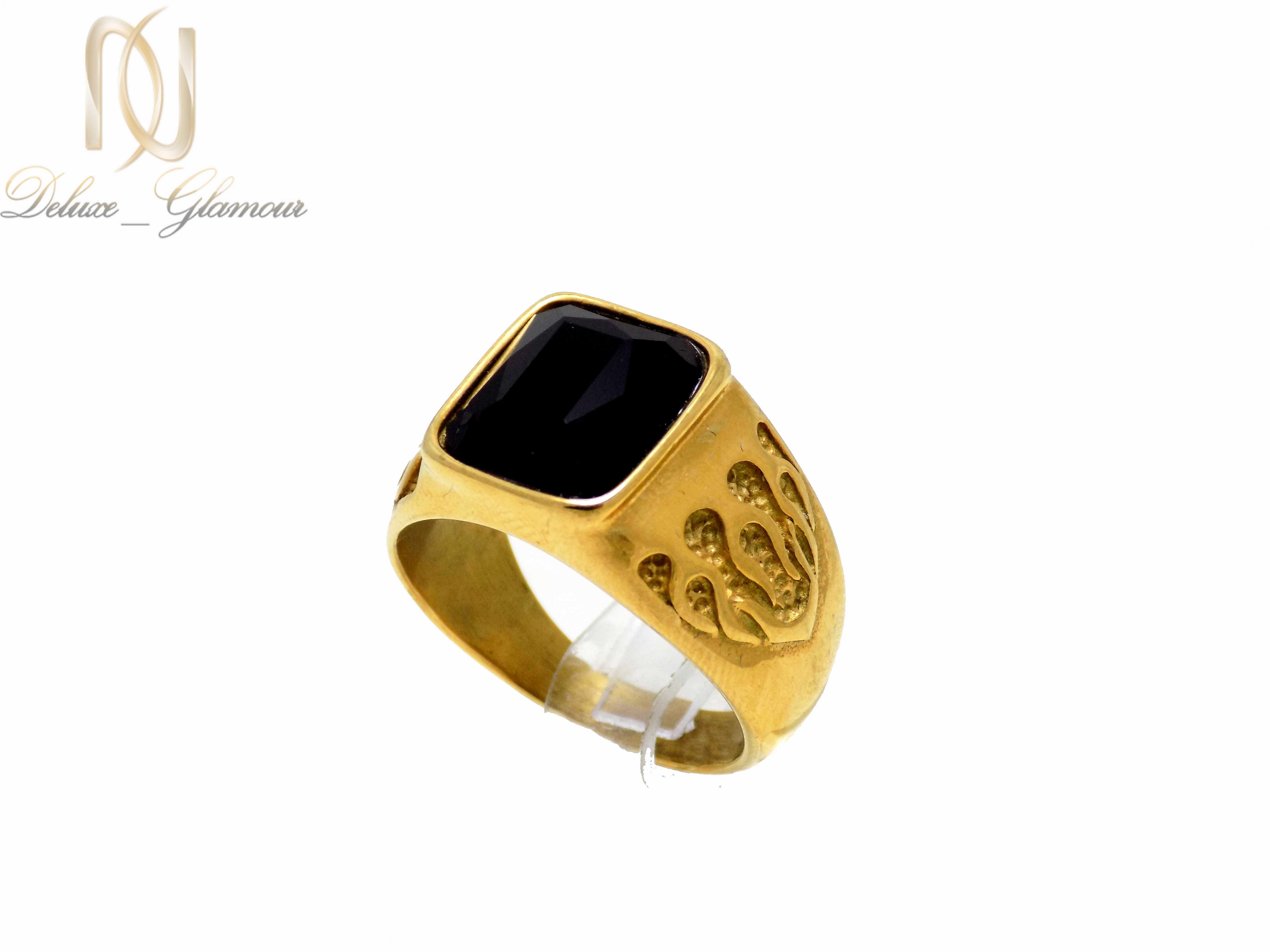 انگشتر مردانه استیل طلایی rg-n274 از نمای روبرو