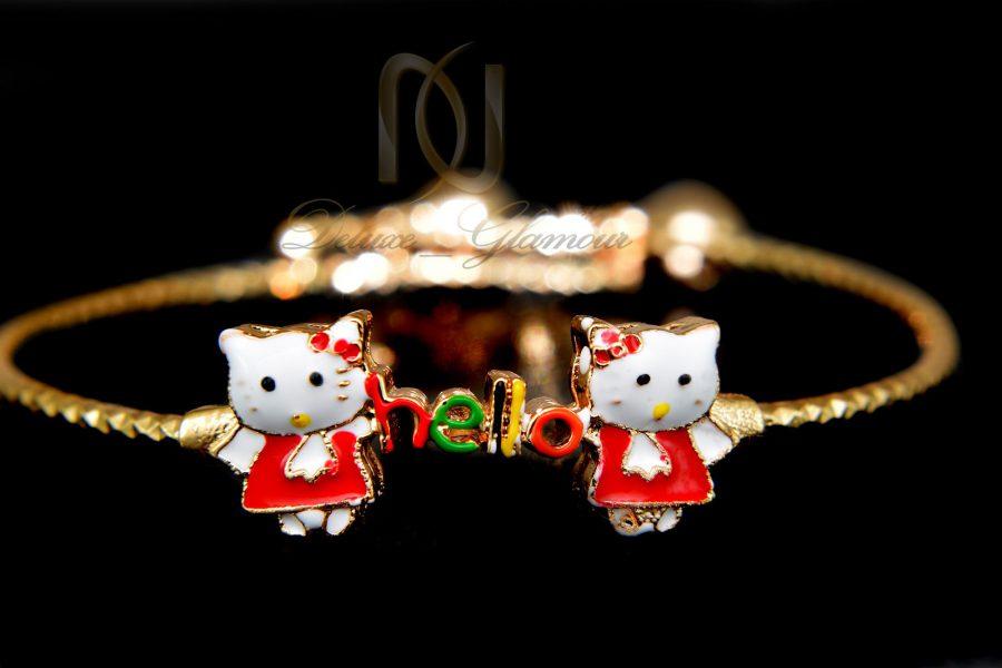دستبند بچگانه استیل طرح کیتی ds-n338 از نمای مشکی