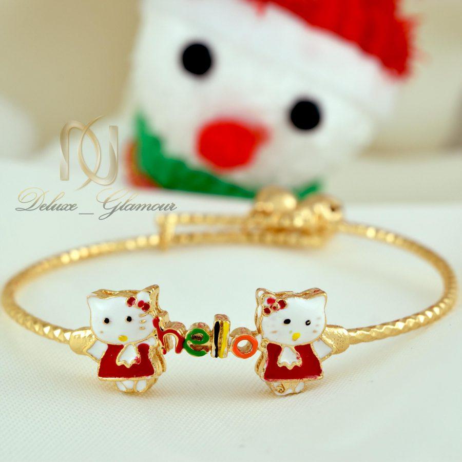 دستبند بچگانه استیل طرح کیتی ds-n338 از نمای سفید