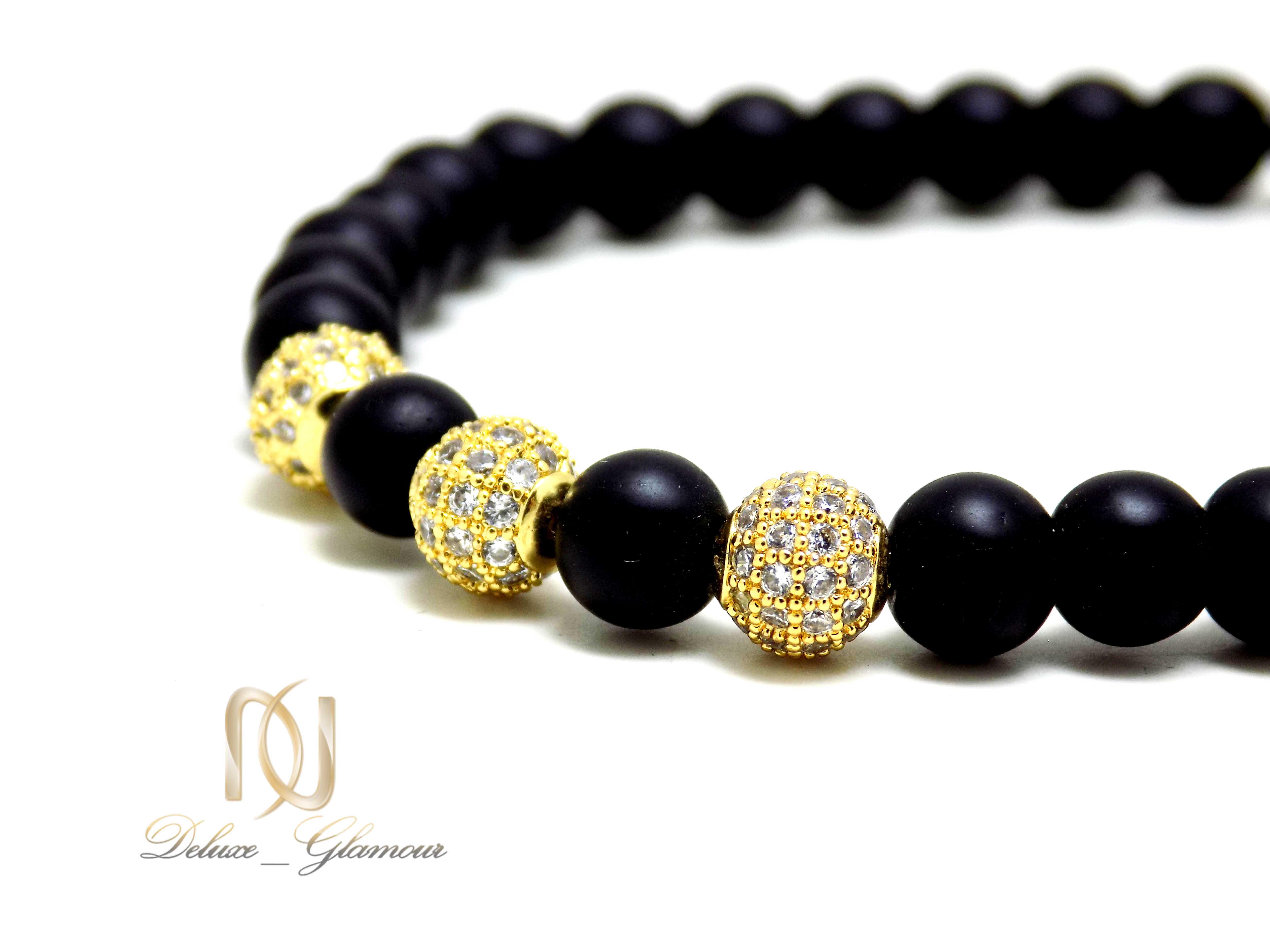 دستبند دخترانه سنگ اونیکس مات ds-n338 از نمای نزدیک
