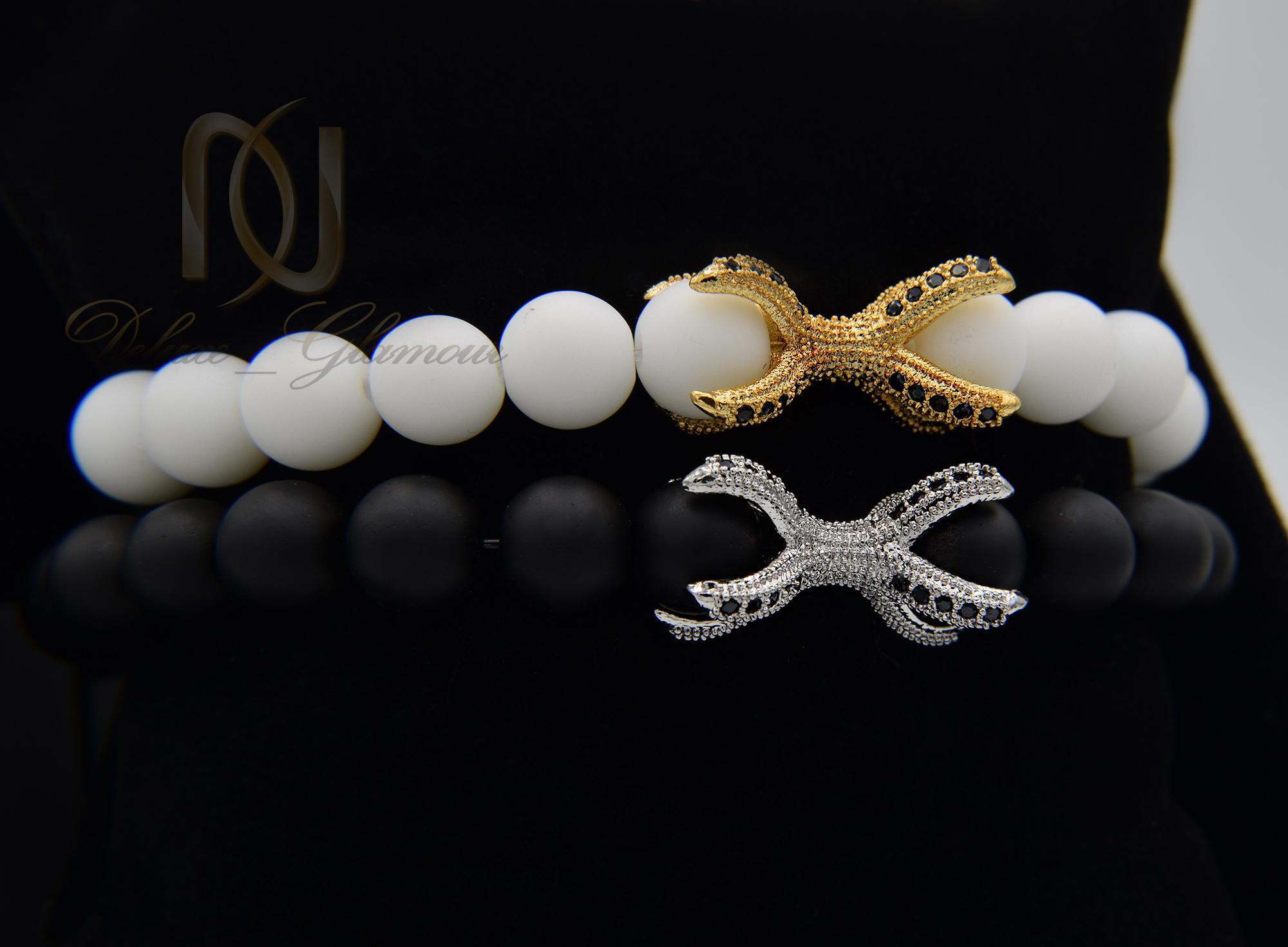 دستبند ست اونیکس با مهره چنگال عقاب ds-n349 از نمای نزدیک