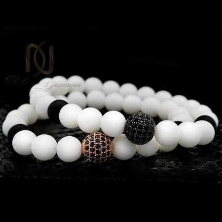 دستبند ست سنگ اونیکس با مهره سواروسکی ds-n348 از نمای مشکی