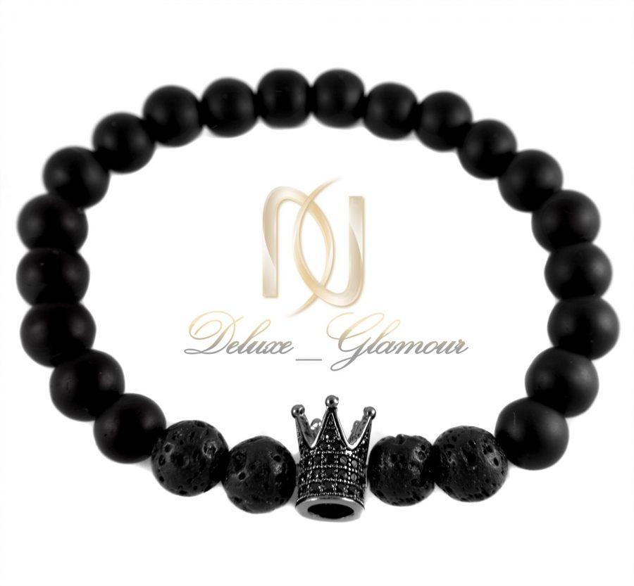 دستبند ست طرح تاج با سنگ اونیکس و لاوا Ds-n339 - تاج مشکی