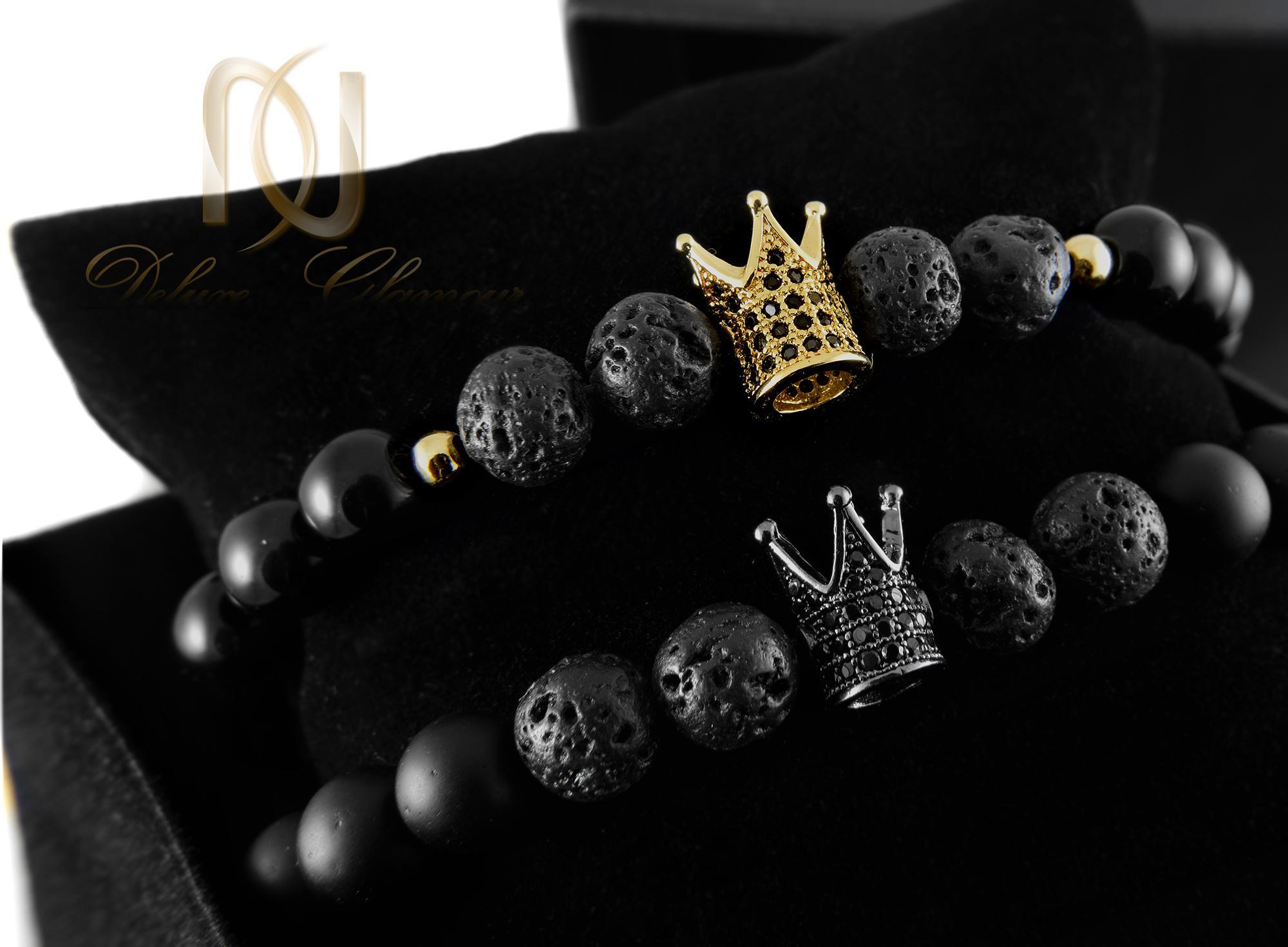 دستبند ست طرح تاج با سنگ اونیکس و لاوا Ds-n339 - داخل جعبه