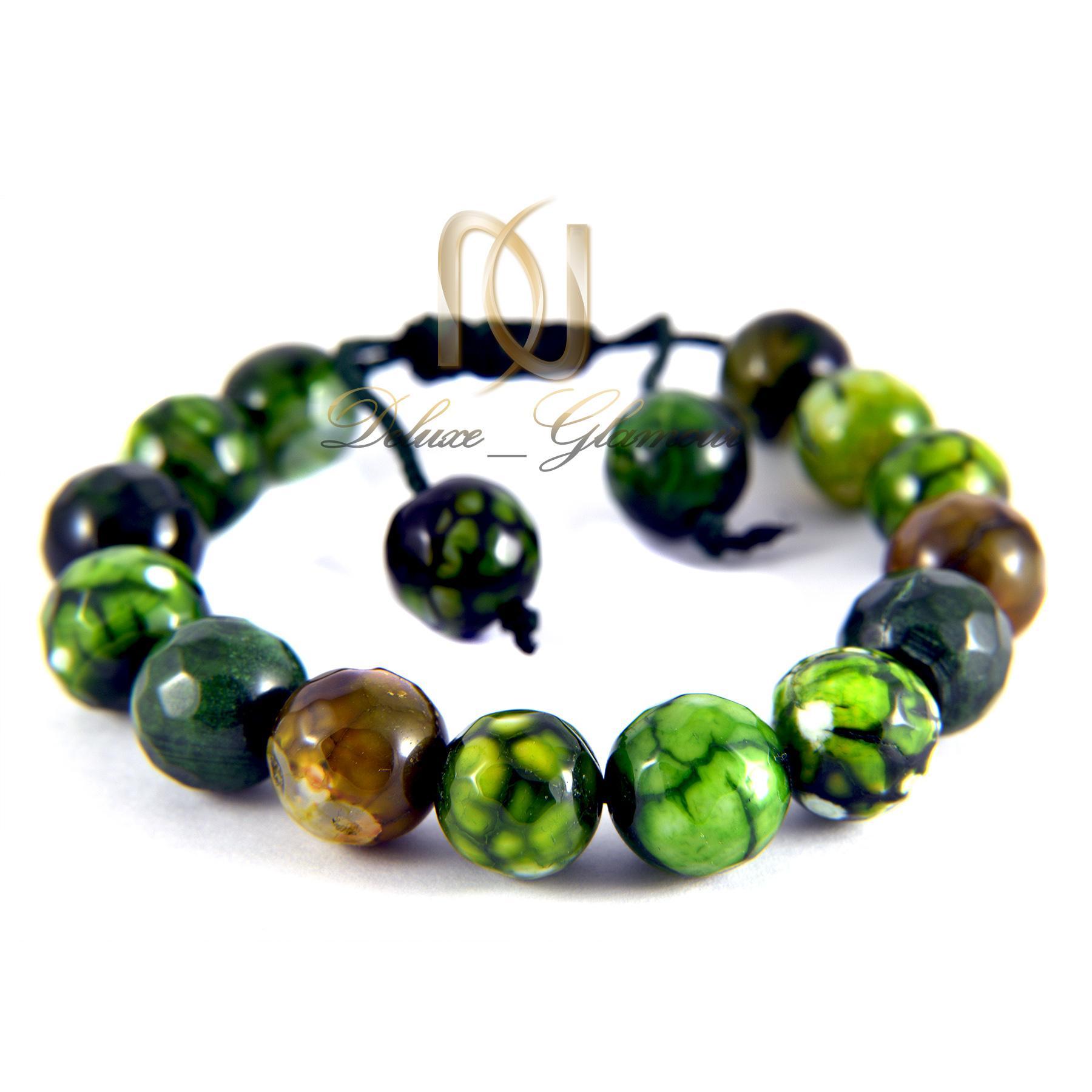 دستبند سنگی سبز عقیق دخترانه با قفل کراواتی ds-n012 - عکس اصلی