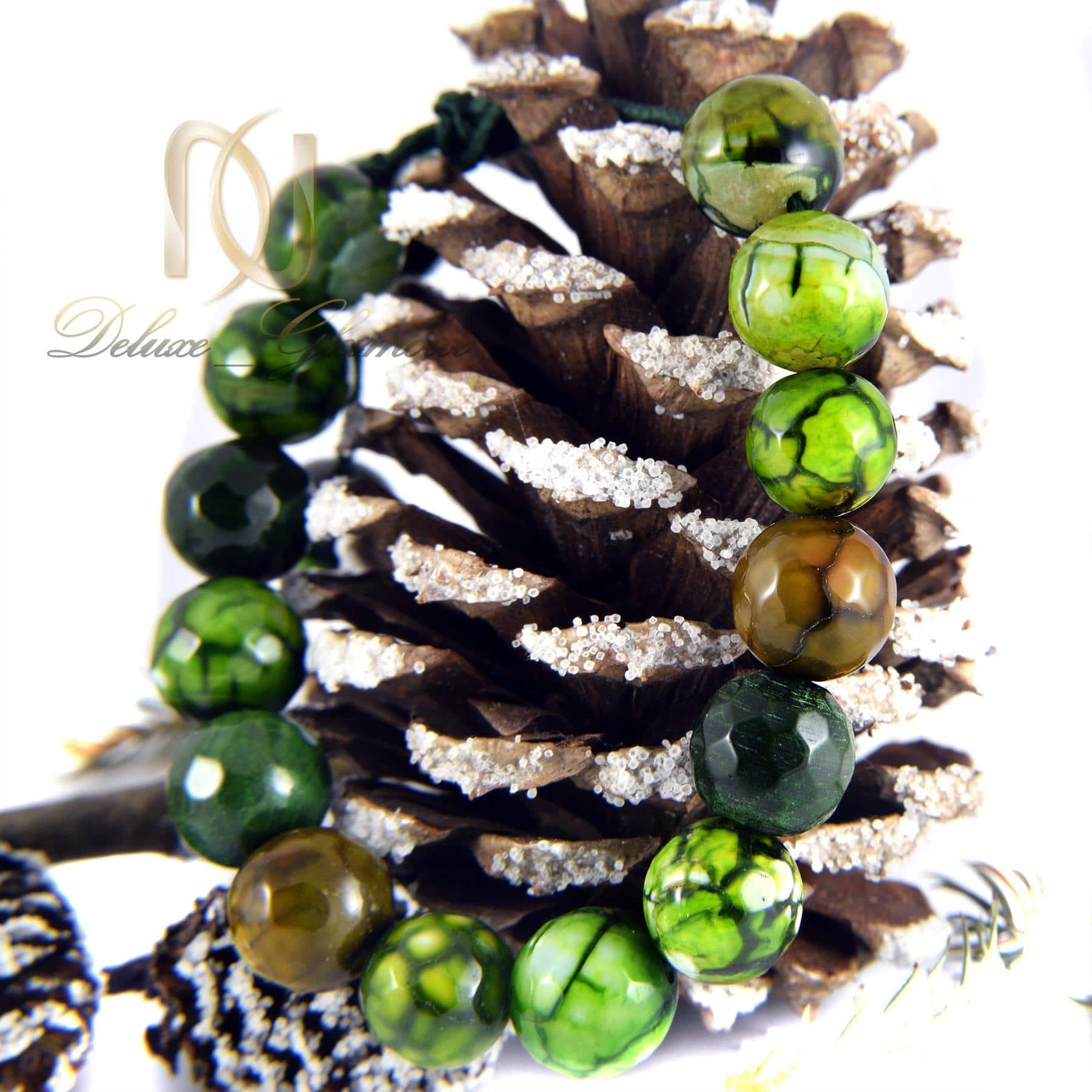 دستبند سنگی سبز عقیق دخترانه با قفل کراواتی ds-n012 - زمینه رنگی