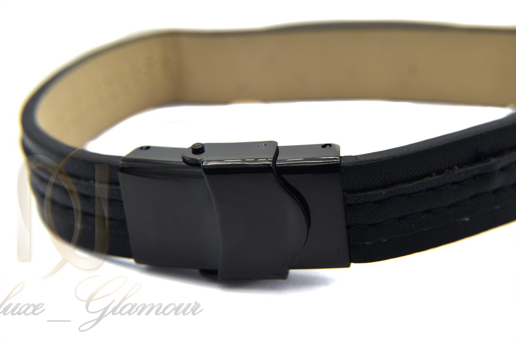 دستبند مردانه چرمی طرح مونت بلانک ds-n359 از نمای پشت
