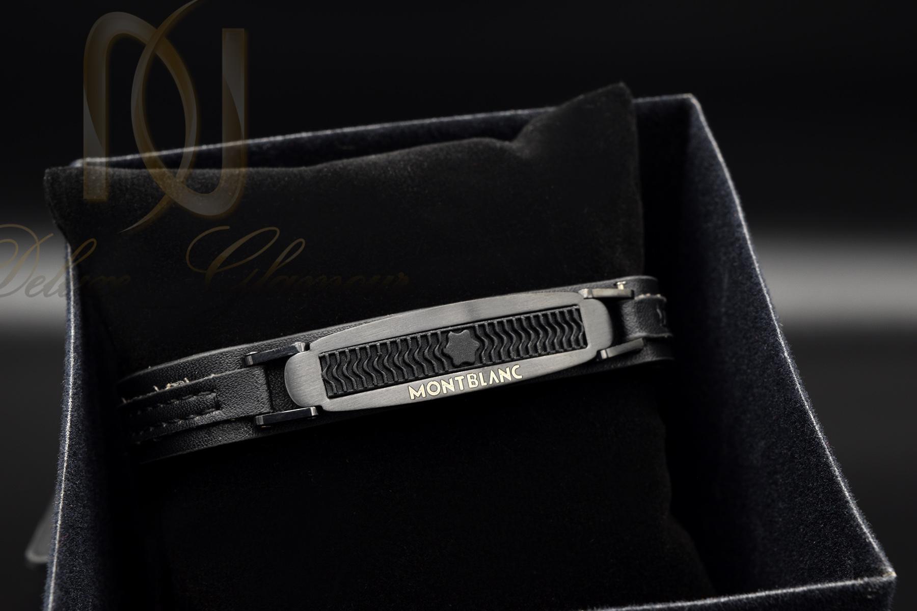 دستبند مردانه چرمی طرح مونت بلانک ds-n359 از نمای مشکی