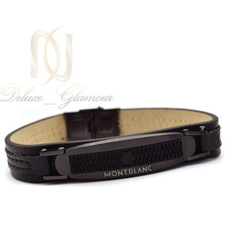 دستبند مردانه چرمی طرح مونت بلانک ds-n359 از نمای روبرو
