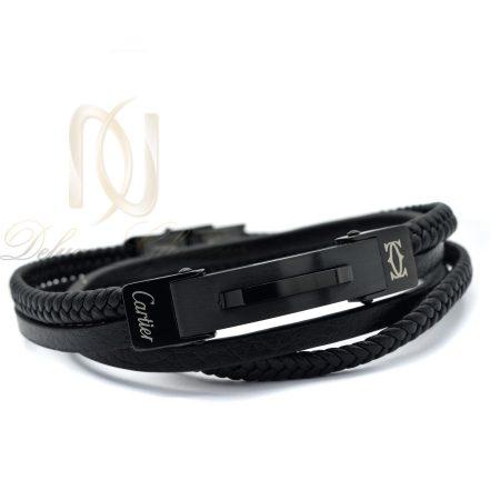 دستبند مردانه چرم اسپرت طرح کارتیه ds-n356 از نمای روبرو