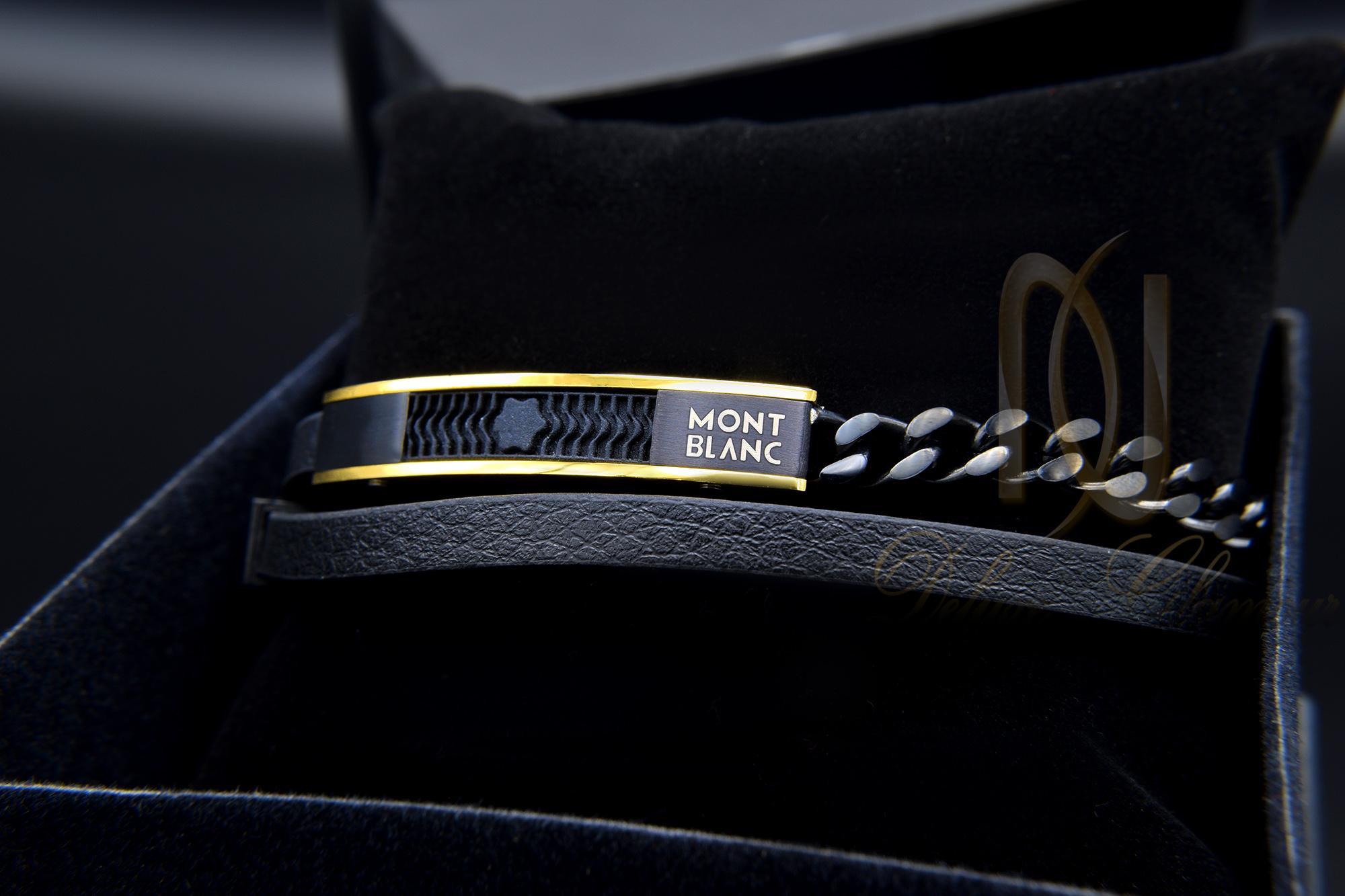 دستبند مردانه چرم دو ردیفه مونت بلانک ds-n354 از نمای مشکی