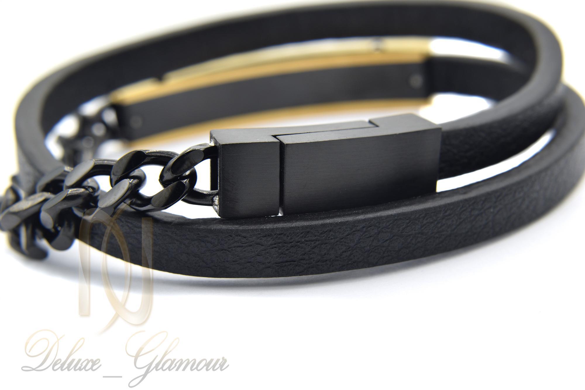 دستبند مردانه چرم دو ردیفه مونت بلانک ds-n354 از نمای پشت