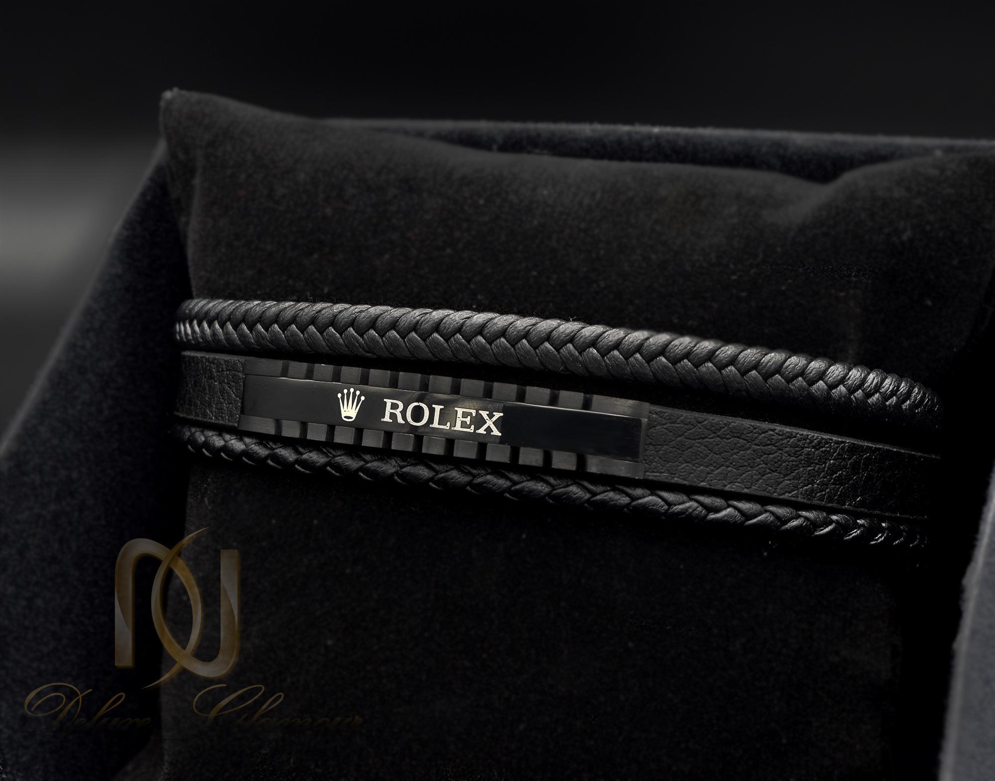 دستبند مردانه چرم سه لایه رولکس DS-N345