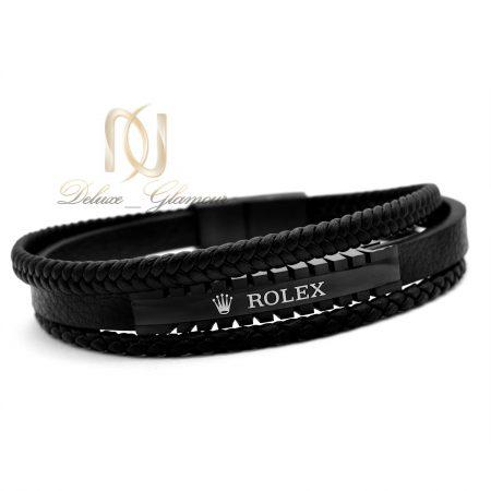 دستبند مردانه چرم سه لایه رولکس DS-N345 از نمای سفید