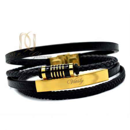 دستبند مردانه چرم چهار لایه ویتالی ds-n344