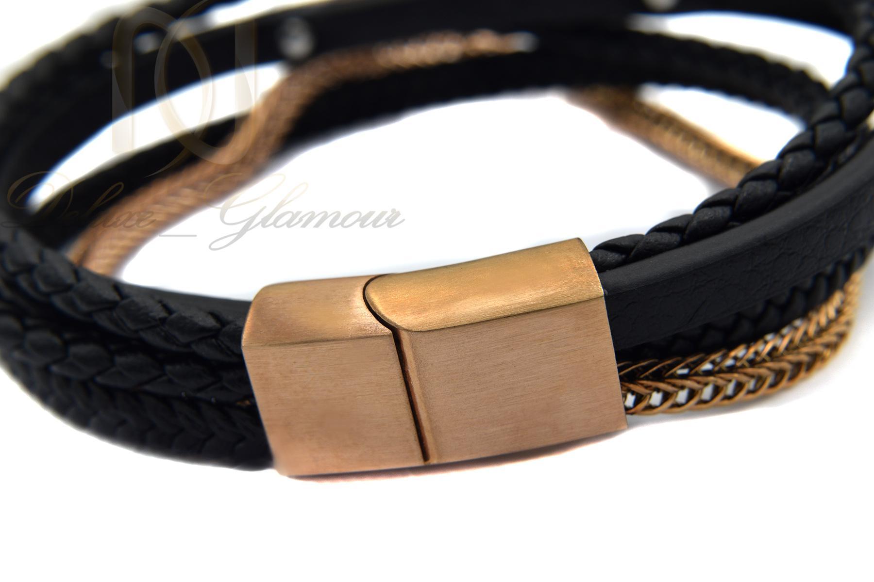 دستبند پسرانه چرمی طرح کارتیه ds-n358 از نمای پشت
