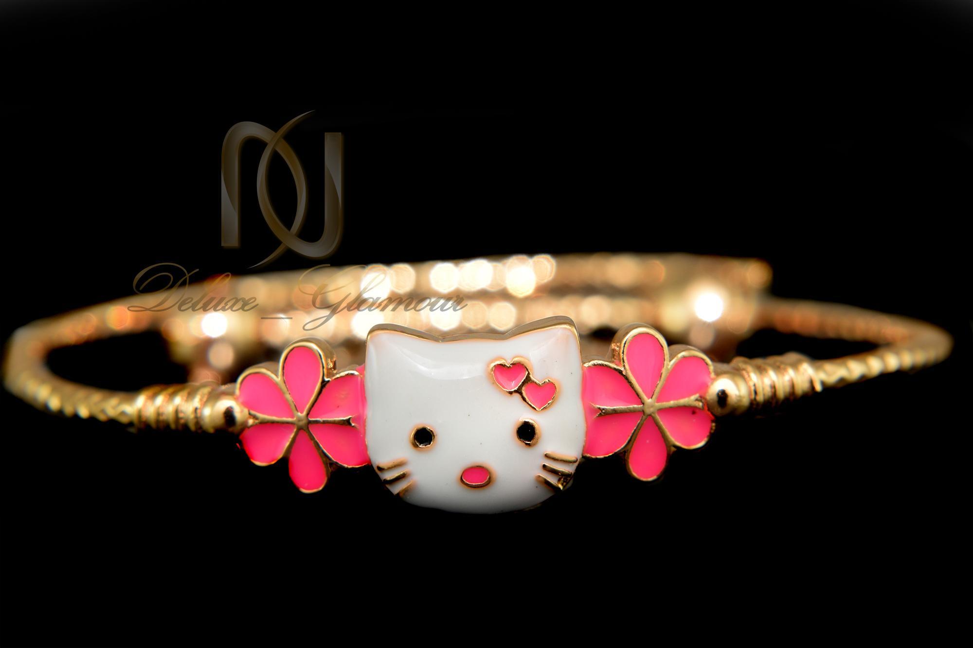 دستبند کودکانه طرح کیتی صورتی ds-n339 از نمای مشکی