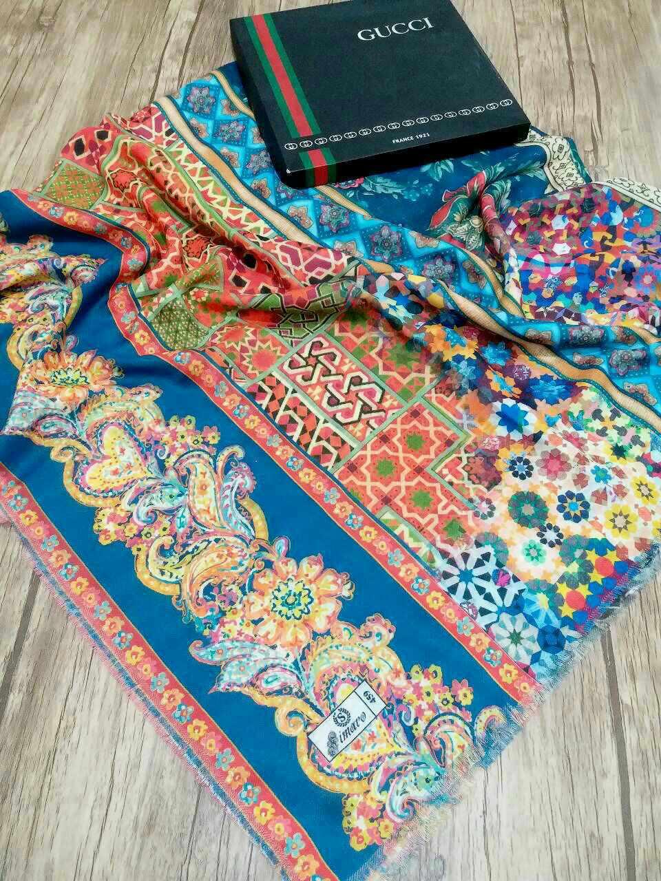 روسری قواره بزرگ نخی تک طرح sr-n215