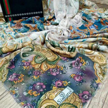 روسری نخی قواره بزرگ پاییزه sr-n200 از نمای روبرو
