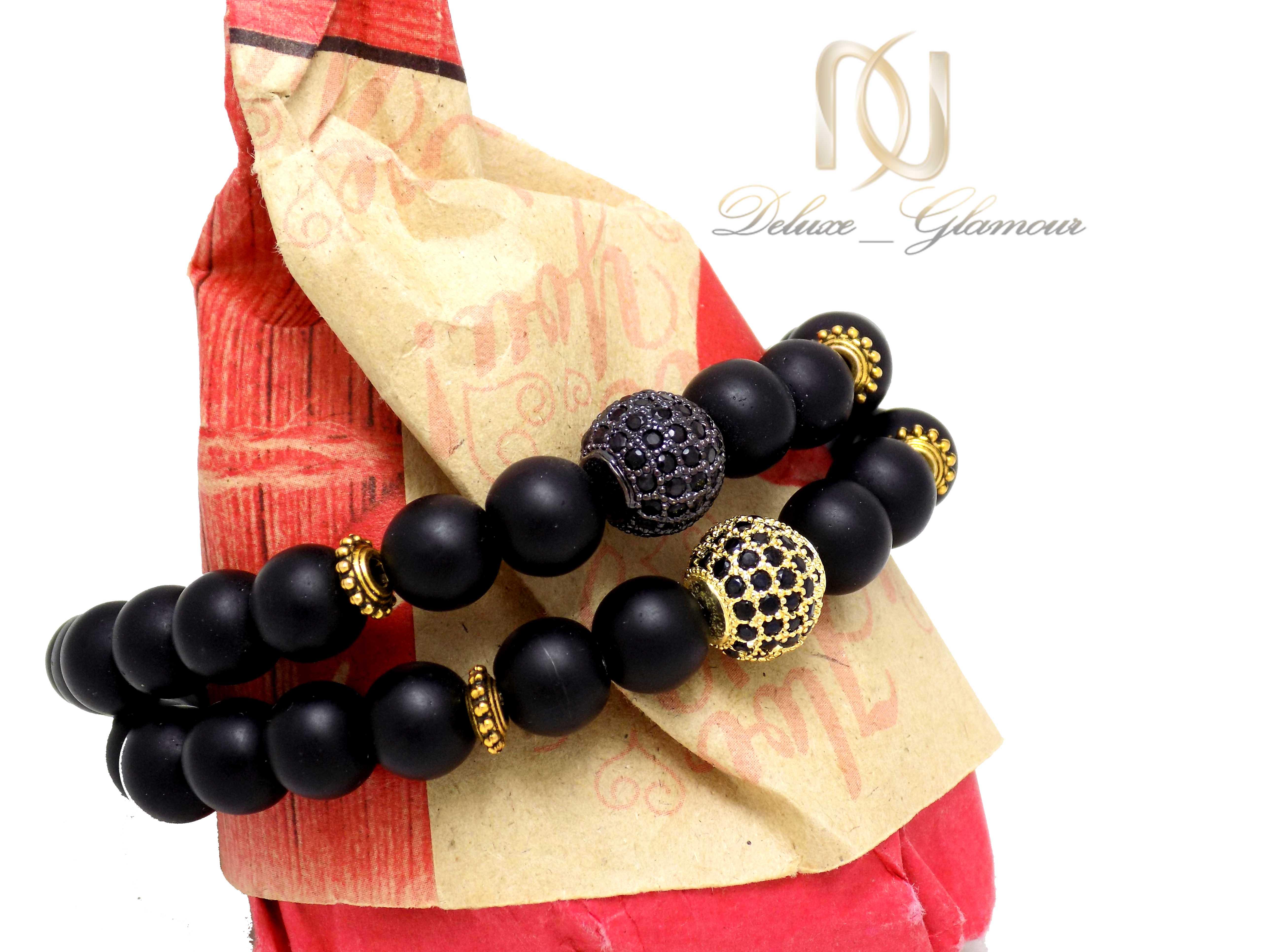 ست دستبند دخترانه و پسرانه طرح کروی Ds-n331 - عکس از بغل