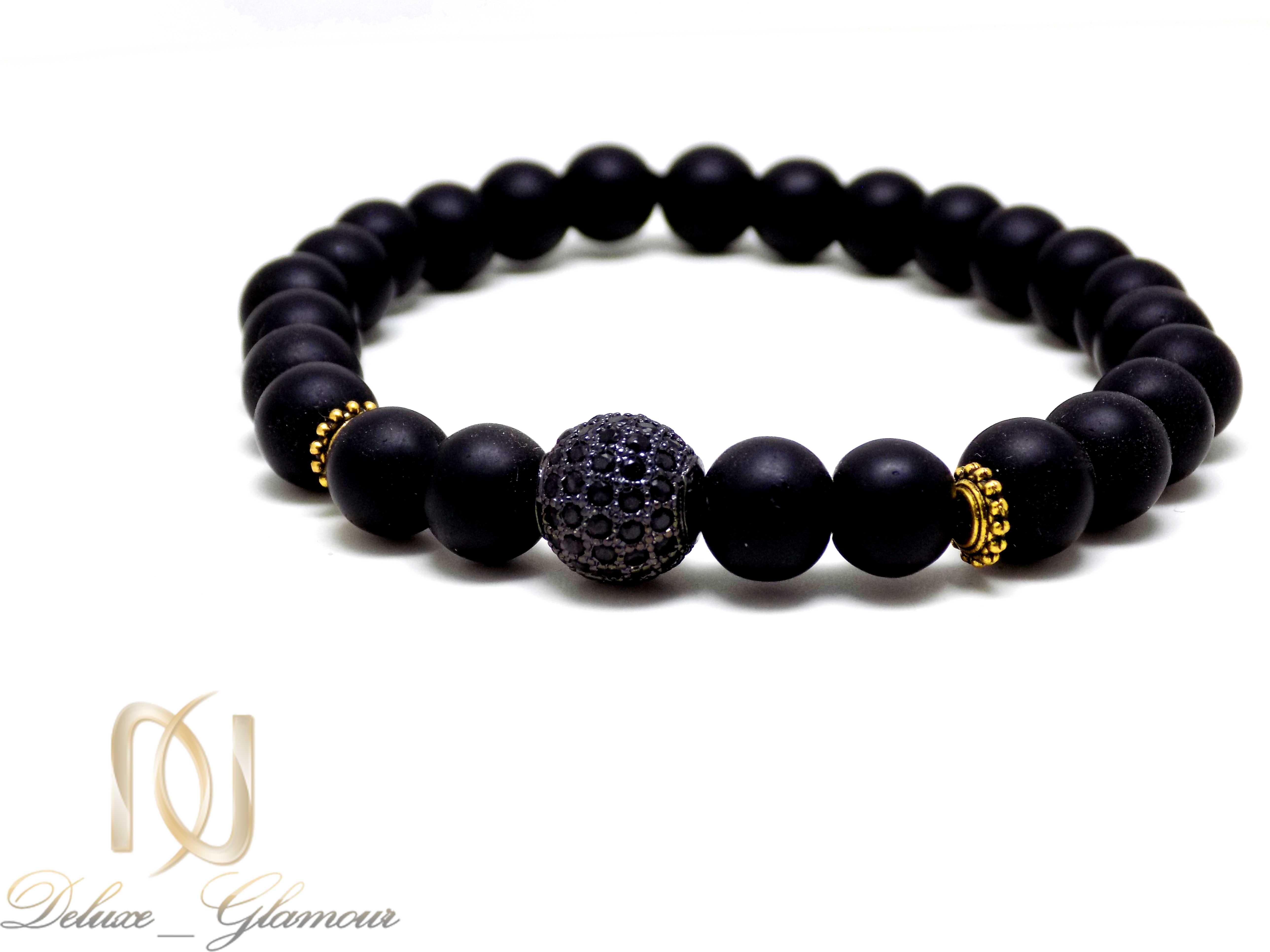 ست دستبند دخترانه و پسرانه طرح کروی Ds-n331 - مهره مشکی