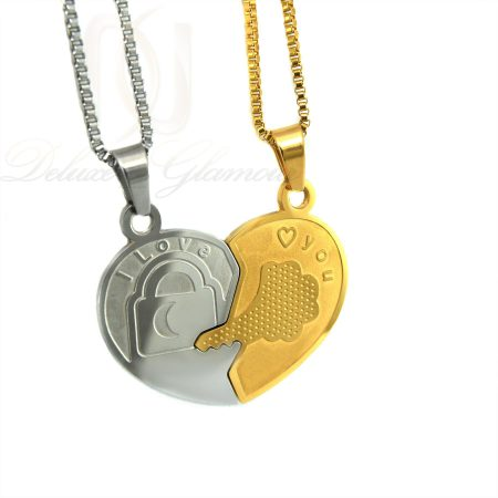 ست گردنبند دو تیکه طرح قلب و کلید mf-n128 از نمای سفید