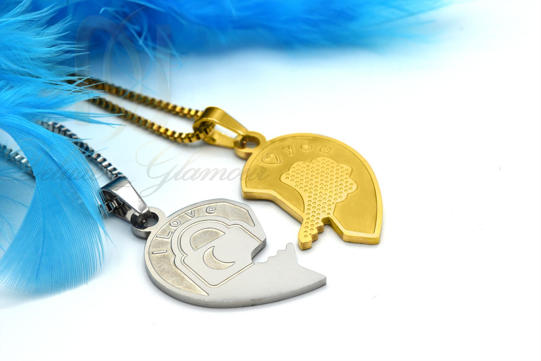 ست گردنبند دو تیکه طرح قلب و کلید mf-n128